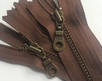YKK Metal Teeth Zippers- Seal Brown with Antique Brass Teeth and Donut Pull- 5 Pieces- Color 568- Available in 7,9,10,11,14  and 18 inch