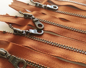 Metal Teeth Zippers- YKK Antique Brass Donut Pull Number 4.5s- 5 pc Rust Orange #102- Available in 4,5,6,7,8,9,10,11,12, 14 and 18 inches