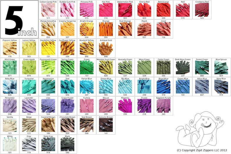 5 Inch YKK Zippers Mix and Match 10 Pieces Choose your own image 0
