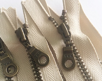 YKK Antique Brass Metal Donut Pull Zippers - (5) Pieces - Khaki 010- Currently available in 7,8,9,10 and 11 inches