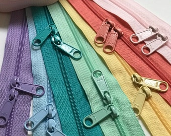 YKK Zipper Long Pull Pastel Sampler Pack- Available in 18 and 30 inch double OR  9, 12, 14, 16, 18 or 24 inch single pull- 7pcs