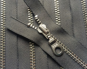 YKK metal zippers- silver nickel teeth- donut pull- (5) pieces - Gun Metal Grey 860 - Available in 4,6,7,8,9,10,11,12,13,14, and 16 Inches