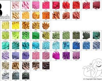 100 YKK Brand 3 Inch Zippers Mix and Match red orange yellow green blue purple pink brown grey black white cream
