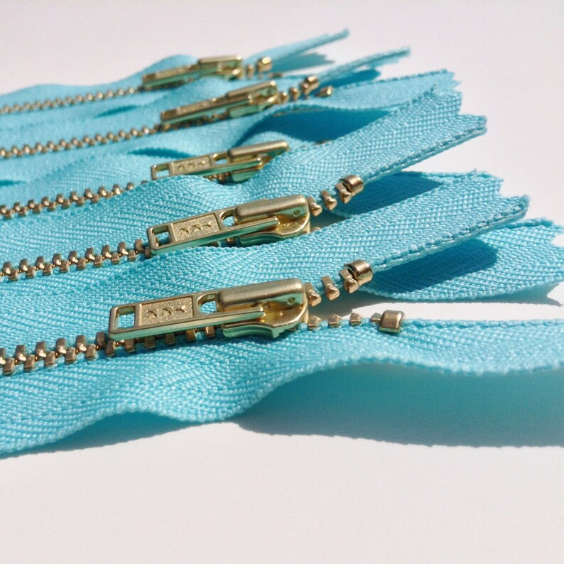 CLEARANCE SALE Brass Zippers 14 inch closed bottom ykk metal image 0