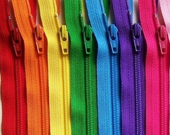 Ykk Zipper Rainbow Sampler Pack 10 zippers- available in 3,4,5,6,7,8,9,10,12,14,16,18 and 22 inches