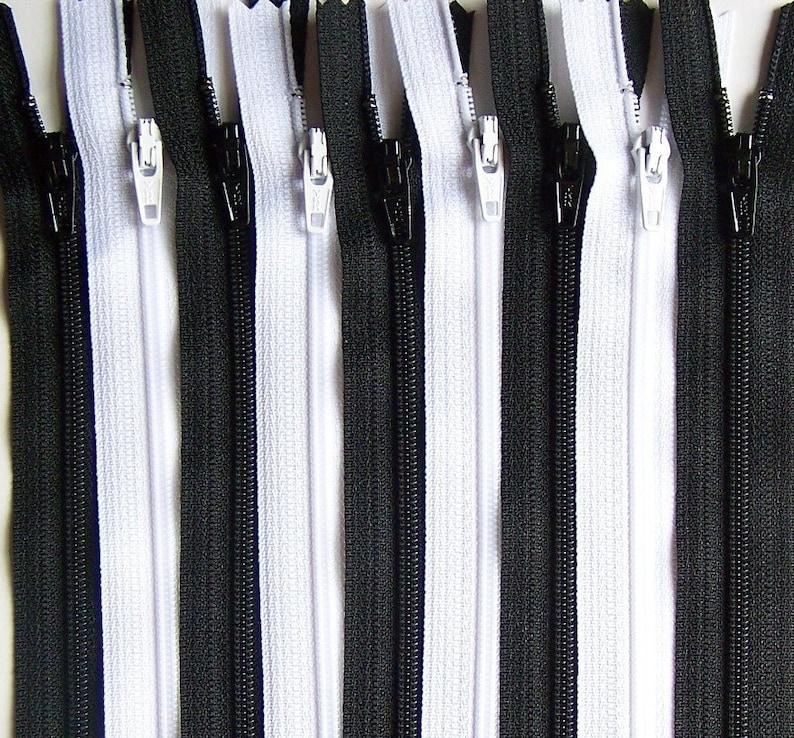 SALE Wholesale YKK Zipper 10 Inch Black and White Bundle 50 image 0