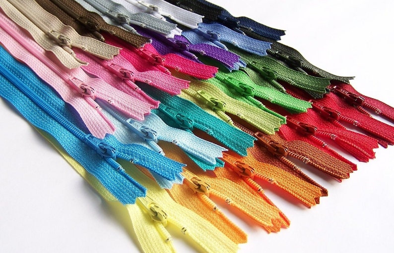 "25 Assorted YKK #3 All Purpose Zippers 24"" Available in 3"" Special Price"