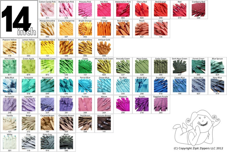 14 Inch 100 pieces Mix and Match YKK Zippers image 0
