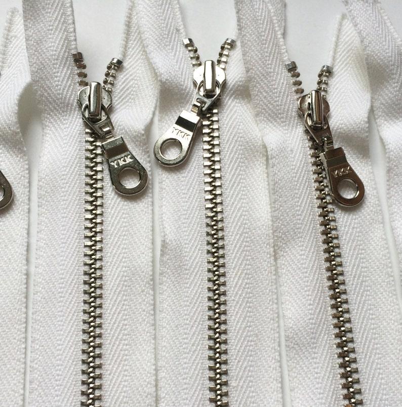 YKK Organic Nickel Metal Zipper Donut Pull  White 5 Pieces image 0