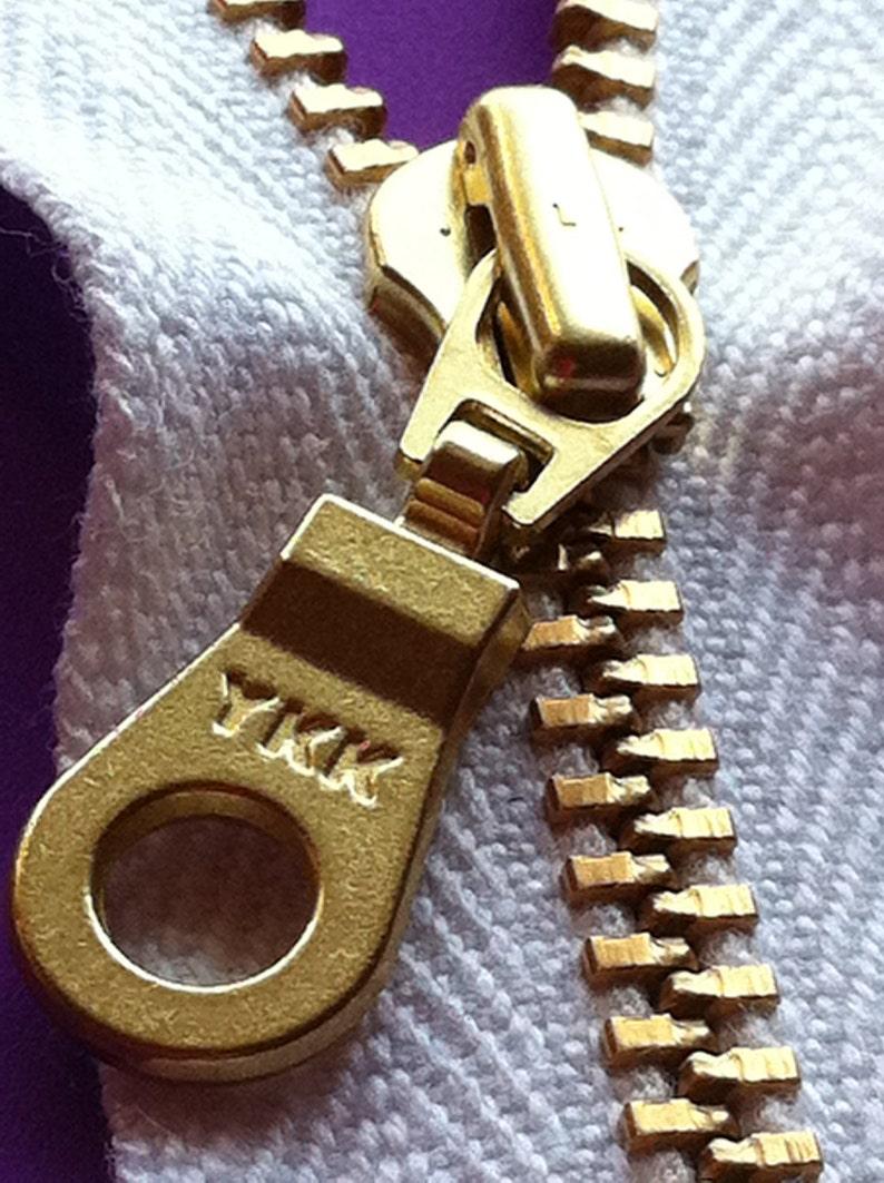 YKK Organic Tape Brass Metal Zipper Donut Pull  White 5 pcs image 0