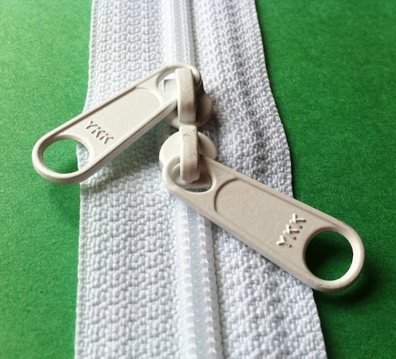 One 18 Inch 45mm Ykk Zippers Color 501 White With Two Long Etsy