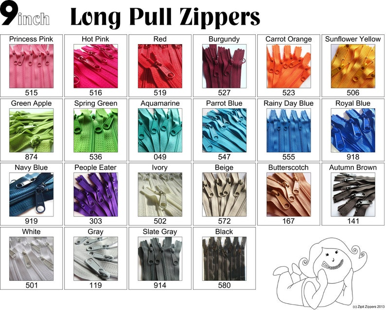 9 Inch 4.5 Ykk Purse Zippers with a Long Handbag Pulls Mix and image 0