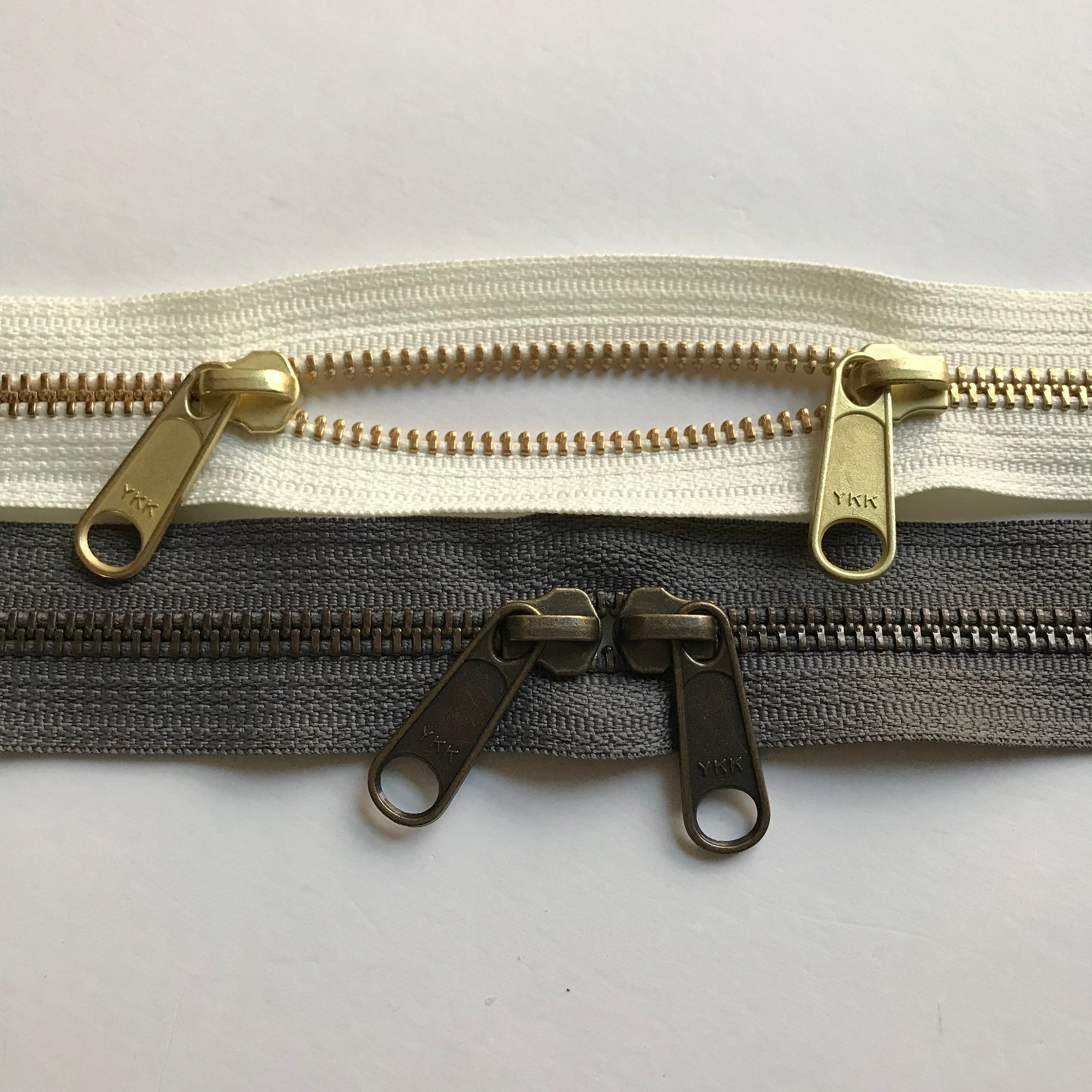 Pack of 10 Antique Gold Zippers by YKK 6 inch no 5 White Zippers for Handbags