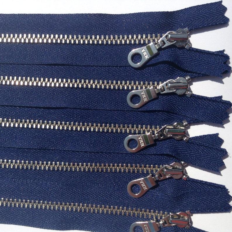 100 Pieces YKK Jean Zipper 4.5MM Navy Blue with Nickel Teeth Closed Bottom