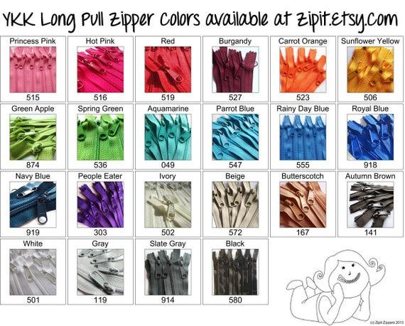 Ykk Purse Zippers 45mm With A Long Handbag Pulls You Choose Etsy