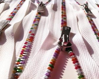 YKK Excella Rainbow Teeth Zippers - 12 inch - White (1) Zipper