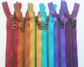 Metal Teeth Zippers- YKK Antique Brass Donut Pull Number 4.5s- 6 pc Jewel Tones Sampler Pack- Available in 4,5,7,8,9,10,11,14 and 18 inches