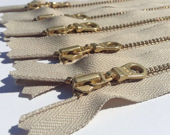 YKK Brass Gold Metal Donut Pull Zippers- (5) Pieces - 010 Khaki brown- Available in 4,5,6,7,8,9,10,11,12,14,16,18,20, and 22 Inch