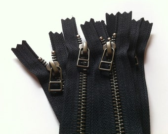 YKK metal zippers with antique brass finish and DHR Wire style pull- (5) pieces - Black 580- available in 4,5,7,8,9,10,12,14,16,18 Inch