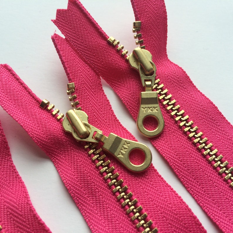 YKK Brass Metal Zipper with Donut Pull 5 Pieces Hot Pink image 0