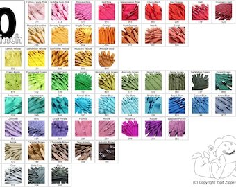 YKK Coil Zippers 10 Inch Mix and Match Your Choice of 25 Zippers Choose from 65 bright, light, dark and neutral colors