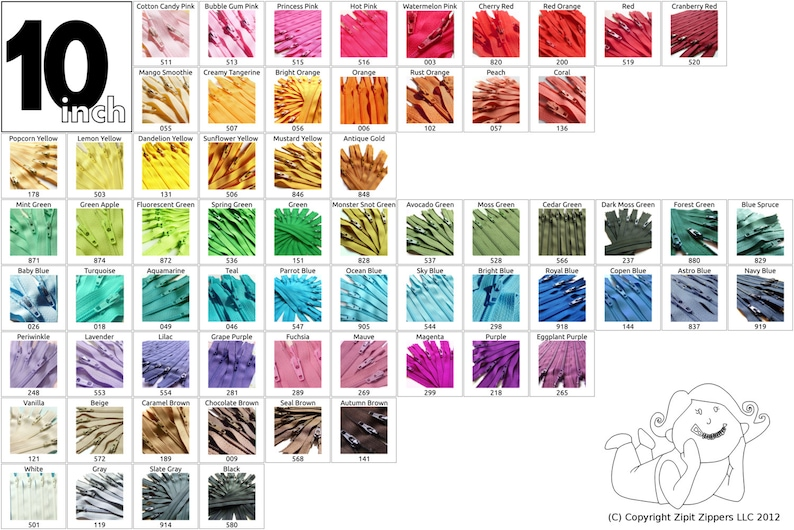 YKK Coil Zippers 10 Inch Mix and Match Your Choice of 25 Zippers Choose from 65 bright, light, dark and neutral colors photo