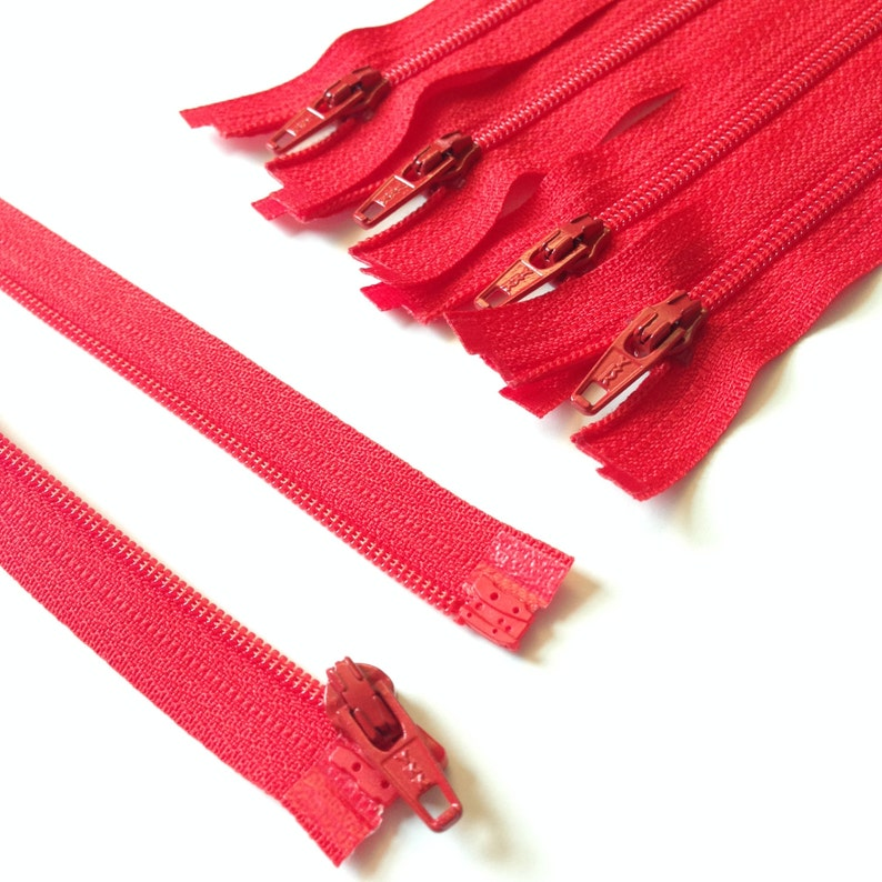 Cherry Red 3mm Nylon Coil YKK Separating Zippers Color 820 5 image 0