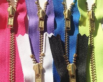 CLEARANCE SALE - 8 inch 4.5 grape purple brass standard pull YKK Metal Zippers- 5 pcs or 100 pcs