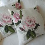 PAIR of  vintage 1940 barkcloth  pillow covers Magnolia pink