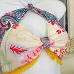 Halter top fringed in yellow gypsy boho HIPPIE  festival clothing handmade upcycled  fabrics