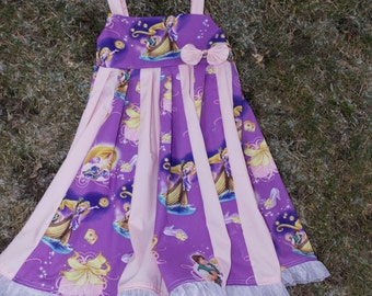 custom boutique twirl dress made with disney tangled fabric 2-6