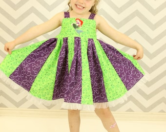 custom boutique twirl dress made with little mermaid patch  size 2-6