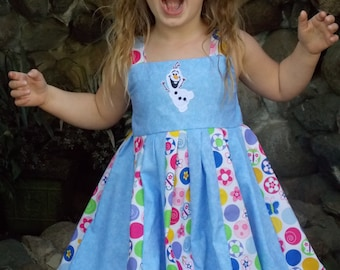 Custom Boutique Twirl Dress Designed with Disney Olaf patch 2T-6X