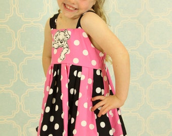 custom boutique dress made with dalmation patch  size 2-6