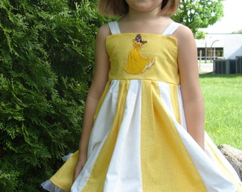custom boutique twirl dress made with princess Belle patch  size 2-6