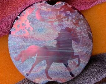 "Handmade Lampwork Focal Bead ""Twilight Horse"" SRA Sandblasted Glass ~ Iridescent Lustre Picture Bead ~ Pinks & Purples"