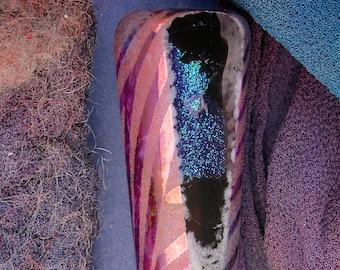 "Lampwork Beads SRA ""Ocean Sunrise"" Handmade Sandblasted Glass Polished Dichroic Focal Window Bead Precious Metal Lustre ~ Pinks & Purples"