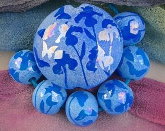 """Lampwork Bead Set """"Blue Iris & Butterflies"""" Handmade Glass SRA ~ Sandblasted Iridescent Lustre Focal Lentil, set of 6 Spheres ~ True Blue"""