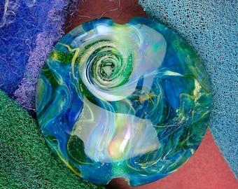 "Handmade Lampwork Beads ""Underwater"" SRA Glass Focal Bead Lentil ~ OOAK Textural Organic Silver Glass Lustre ~ Sea Tones"