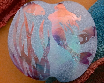 "Handmade Lampwork Bead ""Mermaid's Dance"" Sandblasted Dichroic Glass, Iridescent Lustre & Copper Inclusions Lentil Focal Bead SRA Sea Tones"