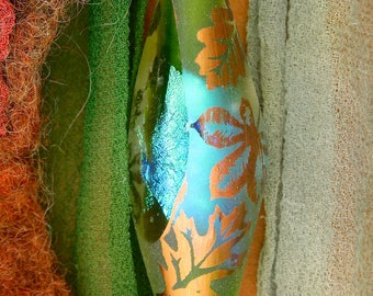 "SRA Lampwork Beads ""Forest Breeze"" Handmade Sandblasted Glass Dichroic Oval Focal Window Bead Precious Metal Lustre ~ Meadow Shades"