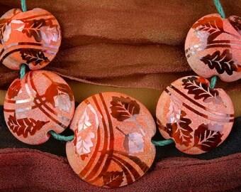 "Lampwork Bead Set of 5 ""Firelit Leaves"" Sandblasted Iridescent Glass Handmade Lentil Beads SRA Graded Set ~ Woodland Tones"