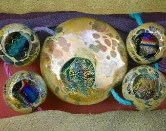 "Lampwork Set of 5 ""Silvery Seas Portal"" Handmade Glass Dichroic Window Lentil & Spheres Focal Bead Set SRA ~ Sea Tones"