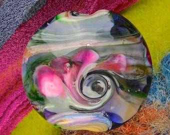 "Handmade Lampwork Focal Bead ""Forest Twist"" SRA Glass Bead Lentil ~ OOAK Textural Organic ~ Meadow Shades"