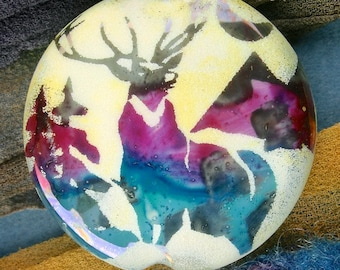 """Lampwork Beads """"Misty Stag"""" Handmade Sandblasted Glass SRA ~ Watercolour Iridescent Lustre Picture Bead ~ Cool Neutrals"""