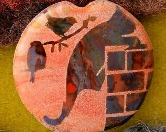 "Lampwork Beads ""Night Patrol"" Handmade Sandblasted Glass SRA ~ Watercolour Iridescent Lustre Cat Bead ~ Warm Neutrals"
