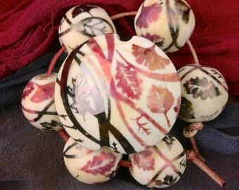 "Lampwork Bead Set ""Retro Leaves"" Handmade Glass Beads SRA ~ Sandblasted Iridescent Lustre Focal Lentil & set of 6 Spheres ~ Woodland Tones"