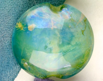 "Handmade Lampwork Beads ""Space Nebula"" SRA Glass Focal Bead Lentil ~ OOAK Organic Silver Glass Lustre ~ Sea Tones"
