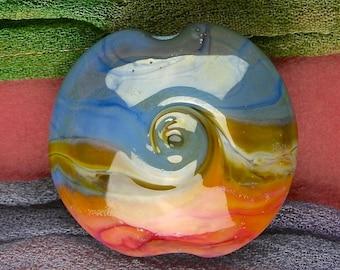 """Handmade Lampwork Bead """"Desert Waves"""" SRA Glass Textural Focal Bead ~ OOAK Unique ~ True Blue"""