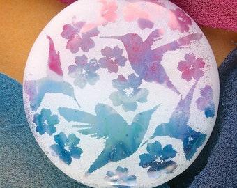 "Lampwork Beads ""Exotic Hummingbirds"" Handmade Sandblasted Glass SRA ~ Watercolour Iridescent Lustre Picture Bead ~ Cool Neutral"